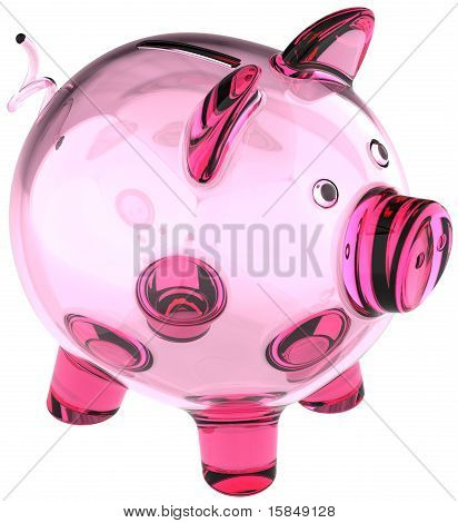 Glass piggy bank empty fragile