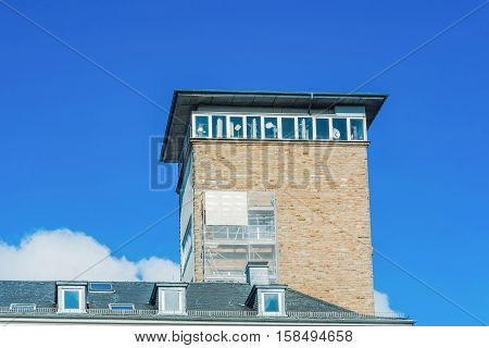 Town Hall with Town Hall Tower in Velbert NRW Germany against blue sky.