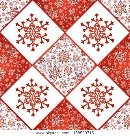 Checkered seamless pattern with red and white snowflakes vector