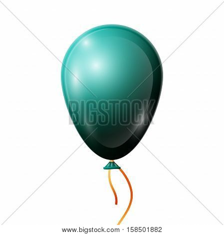 Realistic jade balloon with ribbon isolated on white background. Vector illustration of shiny colorful glossy balloon