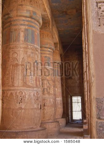 Detail Of Colored Hieroglyphs On The Culumns Of The Ramses Three Temple, Medinet Habou, Louxor, Egyp