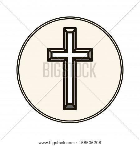 Cross icon. Religion god pray faith and believe theme. Isolated design. Vector illustration