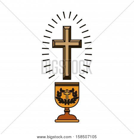 Cross and cup icon. Religion god pray faith and believe theme. Isolated design. Vector illustration