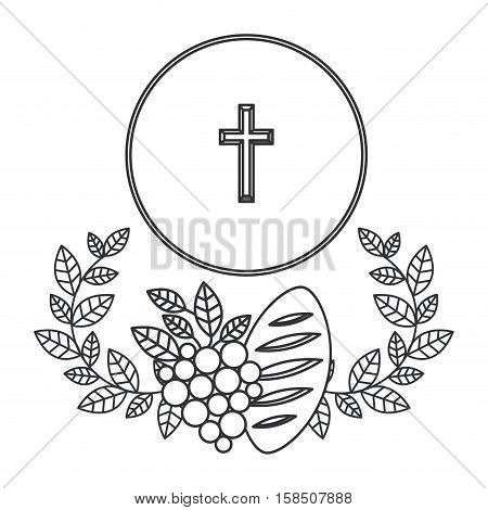 Cross grapes and bread icon. Religion god pray faith and believe theme. Isolated design. Vector illustration