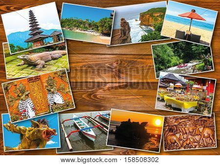 Set of images with views of Bali island, Indonesia