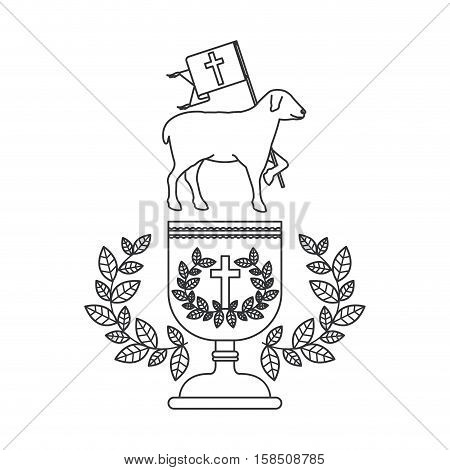 Cup and sheep icon. Religion god pray faith and believe theme. Isolated design. Vector illustration