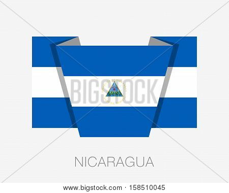 Flag Of Nicaragua. Flat Icon Wavering Flag With Country Name