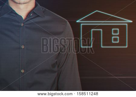 Young Businessman with Home Icon on Light Motion Background and Lens Flare - Digital 3d Effect Style Color