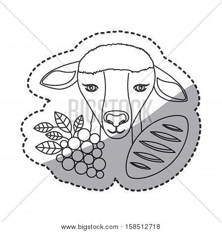 Sheep grapes and bread icon. Religion god pray faith and believe theme. Isolated design. Vector illustration