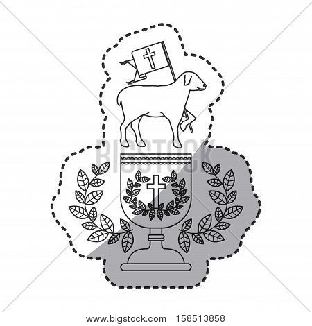 Sheep and cup icon. Religion god pray faith and believe theme. Isolated design. Vector illustration