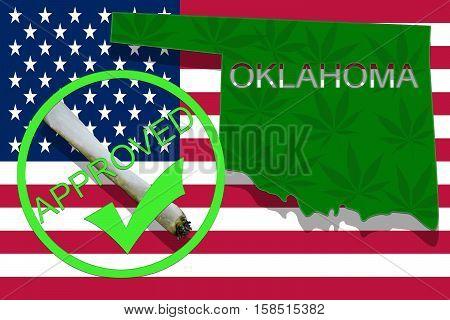 Oklahoma  On Cannabis Background. Drug Policy. Legalization Of Marijuana On Usa Flag,