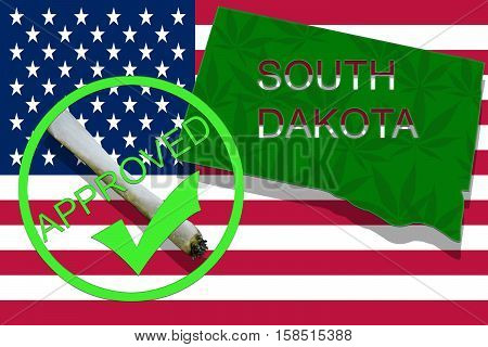 South Dakota S  On Cannabis Background. Drug Policy. Legalization Of Marijuana On Usa Flag,