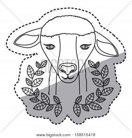 Sheep and wreath icon. Religion god pray faith and believe theme. Isolated design. Vector illustration
