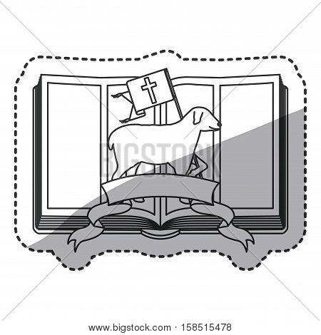Sheep and bible icon. Religion god pray faith and believe theme. Isolated design. Vector illustration