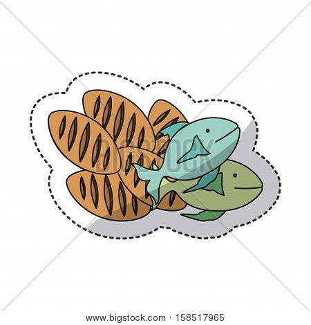 Bread and fish icon. Religion god pray faith and believe theme. Isolated design. Vector illustration