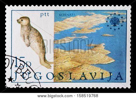 YUGOSLAVIA - CIRCA 1982 : Cancelled postage stamp printed by Yugoslavia, that shows National park Kornati.