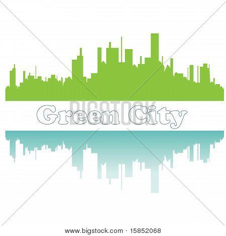 Green city sketch. Vector illustration