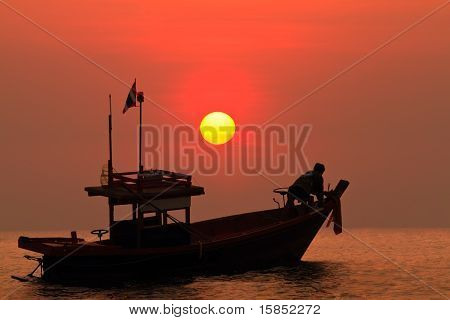 Fisherman Boat With Sun Set