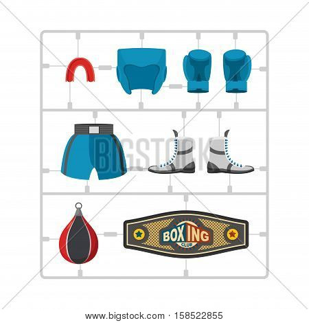 Boxing Set Plastic Model Kit. Collection Champion. Gloves And Protective Helmet. Sports Shorts And C