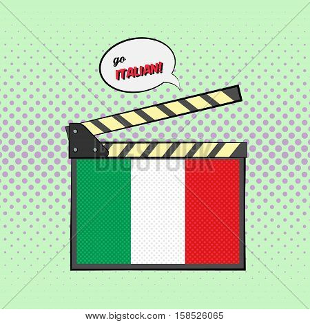 Concept of learning languages, study Italian. Movie clapper board with pop-art style Italian flag.