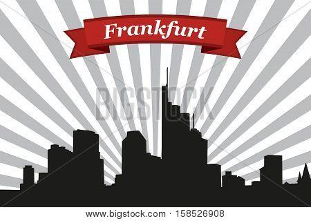 Frankfurt city skyline with rays background and ribbon