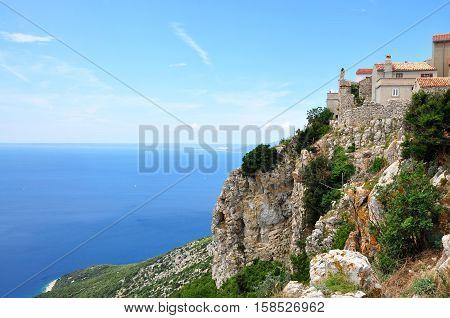 Lubenice town in island Cres in Croatia