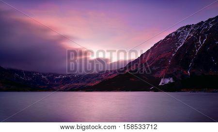 Sunset in five lake valley Tatra mountain