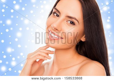 Beautiful Young Woman Her Chin Over Blue Winter Background