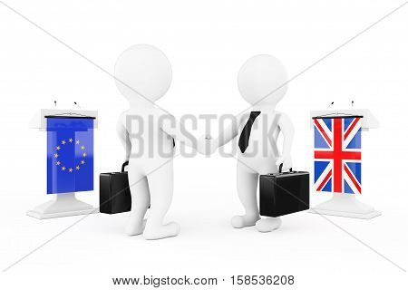 3d Businessman or Politicians Characters Shaking Hands near Tribunes with United Kingdom and European Union Flags on a white background. 3d Rendering