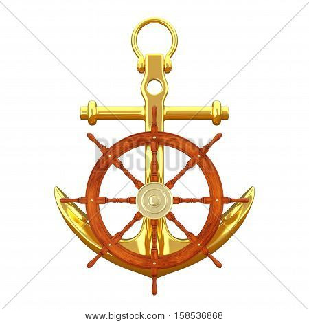 Ship Steering Wheel with Golden Nautical Anchor on a white background. 3d Rendering