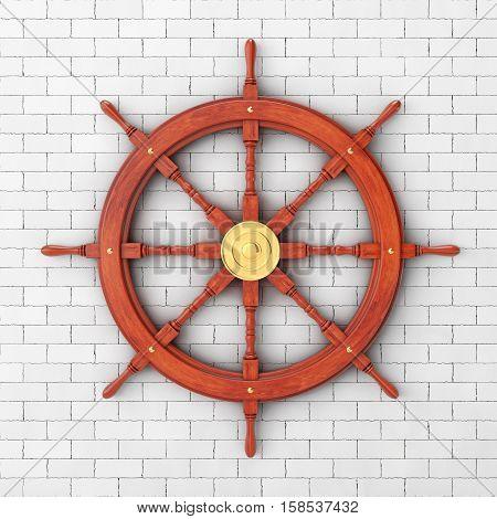 Vintage Wooden Ship Steering Wheel in front of brick wall. 3d Rendering