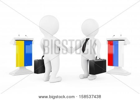3d Businessman or Politicians Characters Shaking Hands near Tribunes with Russian and Ukraine Flags on a white background. 3d Rendering