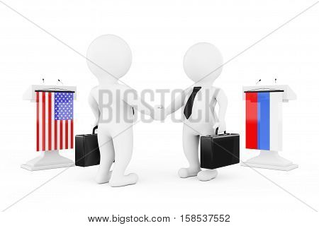 3d Businessman or Politicians Characters Shaking Hands near Tribunes with Russian and USA Flags on a white background. 3d Rendering