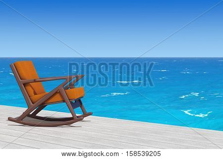 Rocking Chair Upholstered with Orange Cloth on a wooden floor in front of Ocean extreme closeup. 3d Rendering