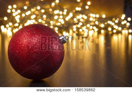 This foto pictured Christmas ball and Christmas lights