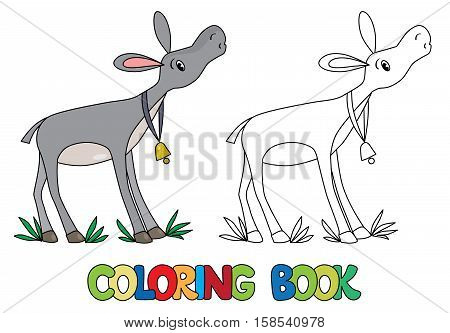 Coloring book or coloring picture of funny donkey with bell on stripe on his neck