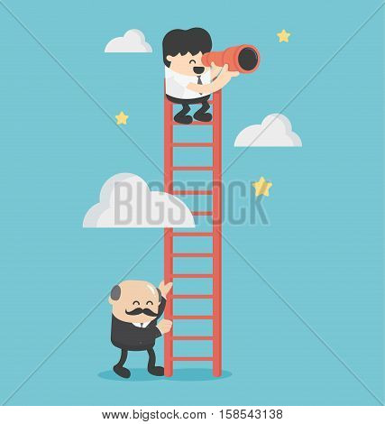Successful businessman helps another businessman by holding ladder for To success