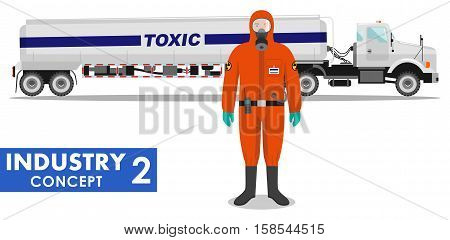 Detailed illustration of cistern truck carrying chemical radioactive toxic hazardous substances and worker in protective suit on white background in flat style.