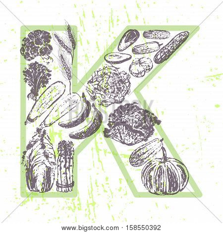 ink hand drawn fruits and vegetables that contain vitamin K