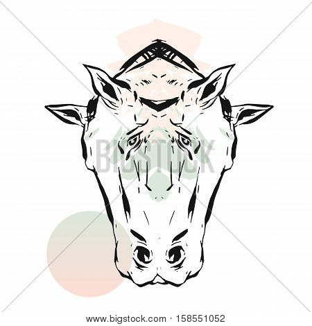 Hand drawn vector lined abstract ink graphic horses mirror heads print isolated on white background.Minimalistic style.Creative artwork.Fashion print.Minimalistic style.T-shirt design, sign, decoration.