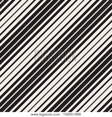Vector Seamless Black and White Parallel Diagonal Stripes Pattern. Abstract Geometric Background Design.