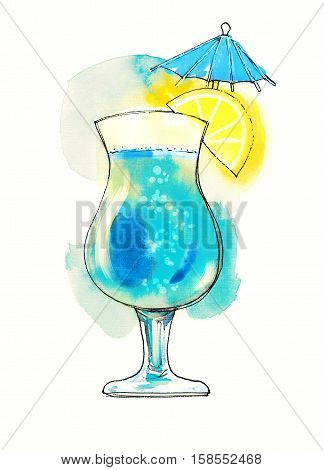 Watercolor red transparent cocktail with lemon slice and small umbrella. Illustration, design element for menu, card, postcard, posters.