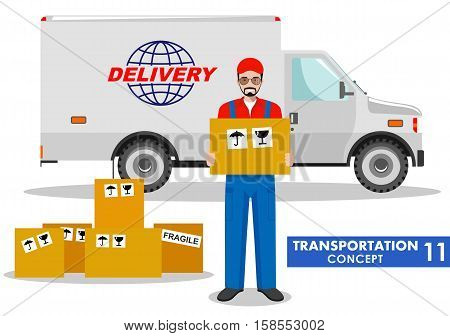 Detailed illustration of delivery truck and driver hold the box on white background in flat style.