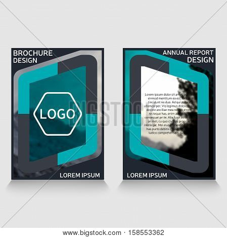 Brochure design annual report cover. Leaflet flyer layout. Magazine cover corporate identity template. Presentation template corporate identity. Brochure cover with photo placeholder.