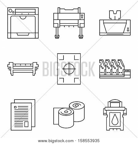 Isolated vector printer icons set. Document print equipment. Color printer on white background. Photocopier tool collection. Business copy, offset and laser print. Media industry graphic symbols.