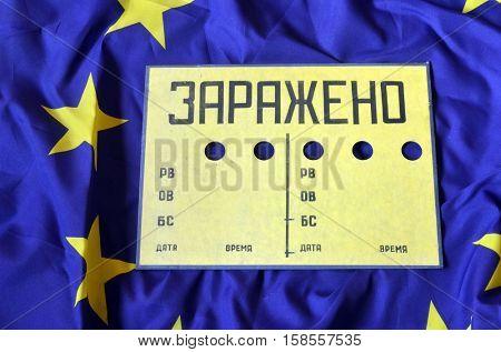 EU Flag and Contaminated (RU) sign