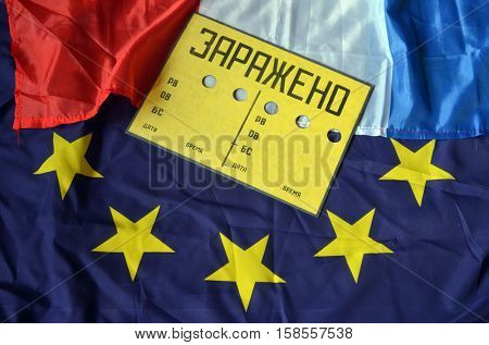 EU and Netherlands flag with Contaminated (RU) sign