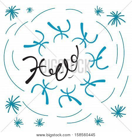 Hello hand drawn letters inscribed in snowflake