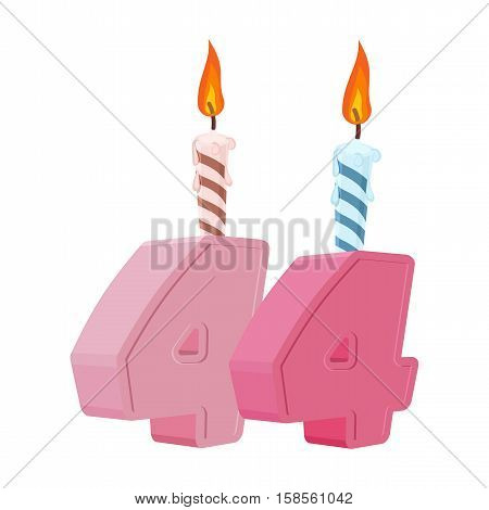 44 Years Birthday. Number With Festive Candle For Holiday Cake. Forty-four Anniversary