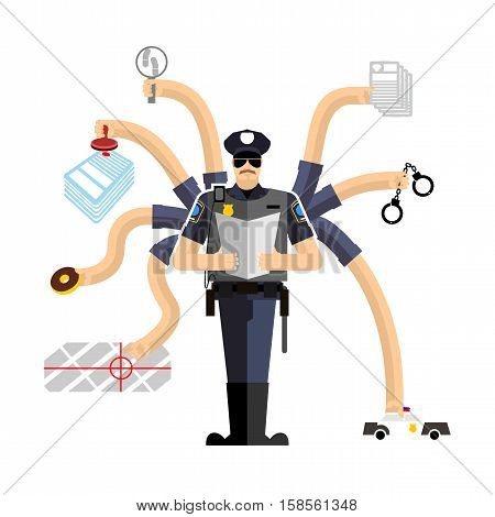 Police Work. Officer On Duty. Detention Of Criminals. Handcuffs And Donut. Cop Investigation. Police